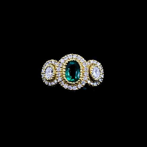 Oval Emerald Ring with Outer Diamonds