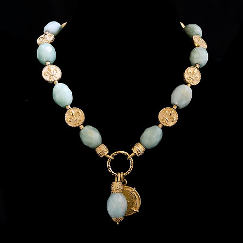 Amazonite Necklace with Charms Drop