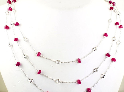 Triple Strand Ruby Bead Necklace