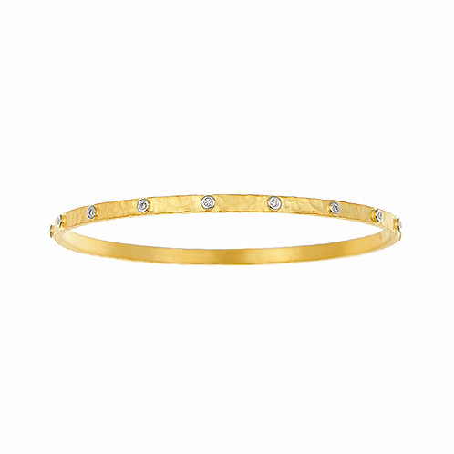 Hammered Slip On Bangle with Diamond Inset