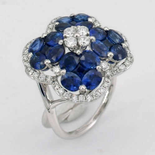 Blue Sapphire Double Band Ring