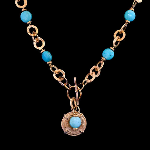 Open Link Chain with Turquoise and Coin Drop