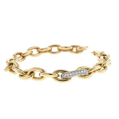 18k Oval Link Bracelet with Diamond Offset