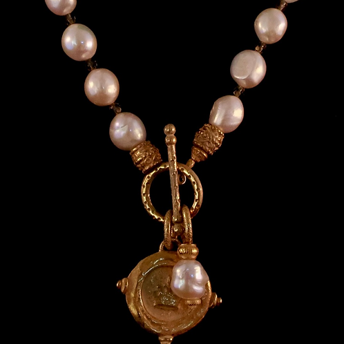 Pearl with Coin Medallion Necklace