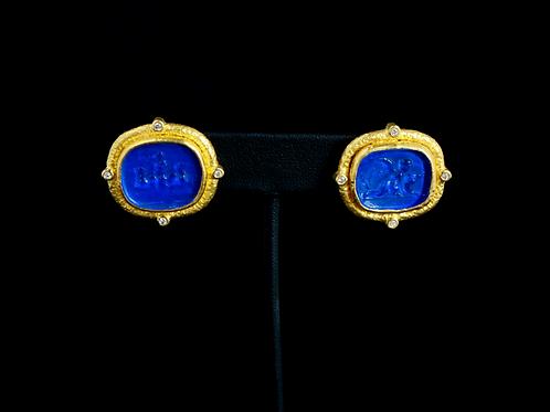 Gold Framed Blue Earrings