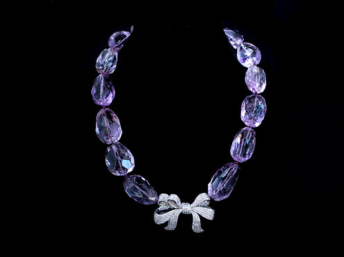 Amethyst Chunk Bead Necklace with Crystal Bow