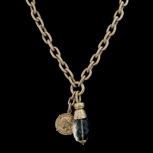 Chain Necklace with Coin and Citrine Drop