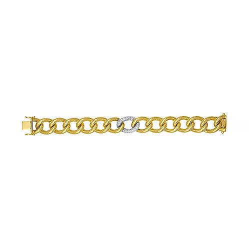 Gold Bracelet with Diamond Link