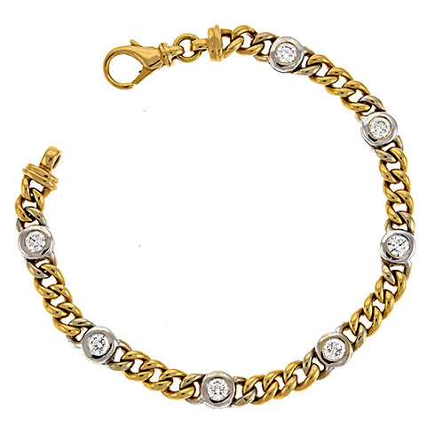 Gold Chain Bracelet with Diamond Accents