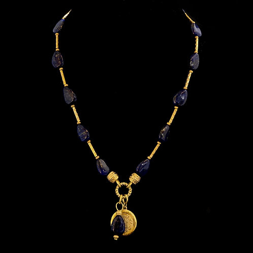 Teardrop Lapis Necklace with Coin Drop