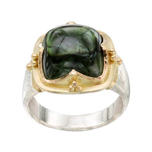 Silver / Gold Tourmaline Bezel Ring