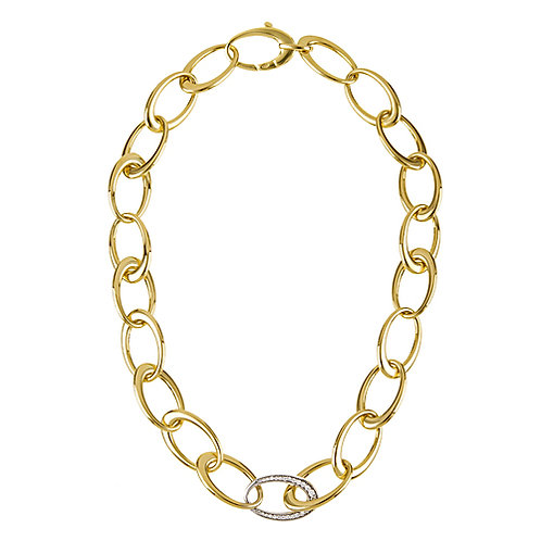 Mixed Link Necklace with Diamonds