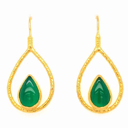 Green Agate Teardrop