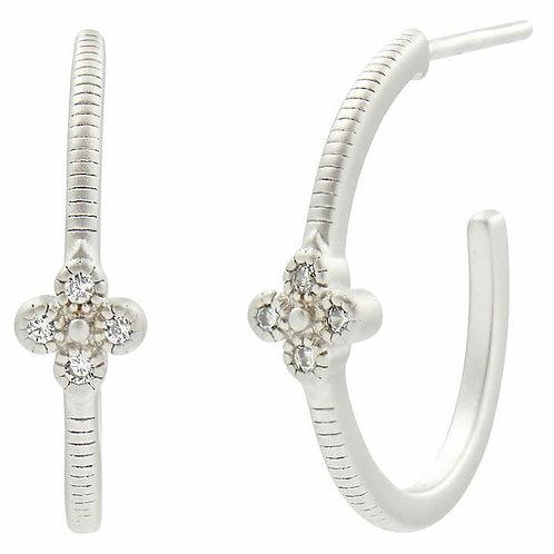 Silver Clover Huggie Hoop Earrings