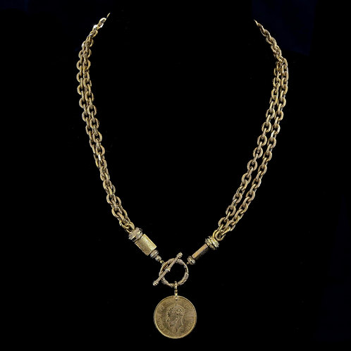 Double Chain Necklace with Coin Drop