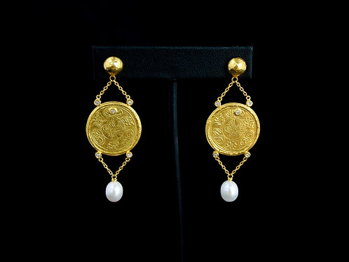 Coin and Pearl Drop Earrings