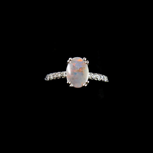 Platinum Ring with Oval Opal Center