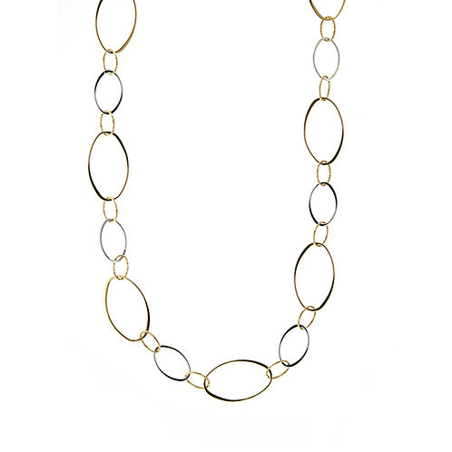 "34"" Oval Mixed Link Necklace"