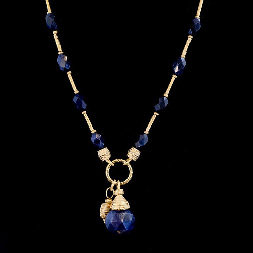 Long Lapis Necklace with Drop