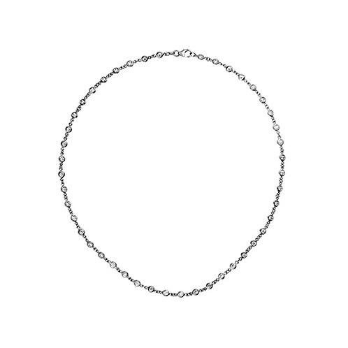 Platinum Chain Necklace with Diamonds
