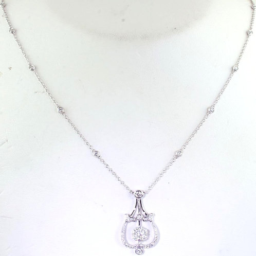 White Gold Chain Necklace with Diamond Centerpiece