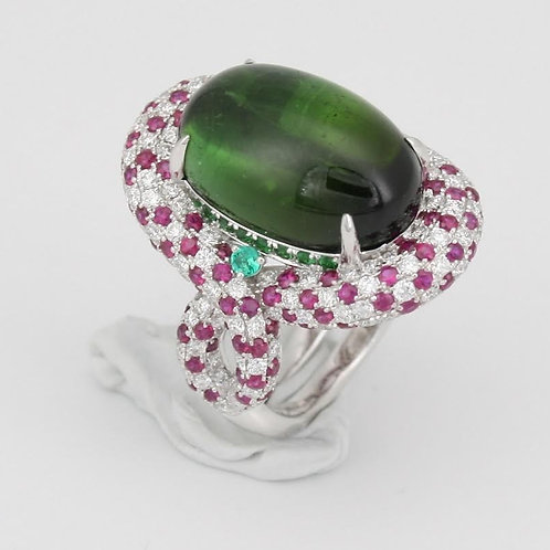 Large Green Garnet and Ruby Ring