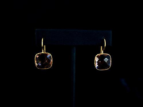Square Pink Quartz Earrings