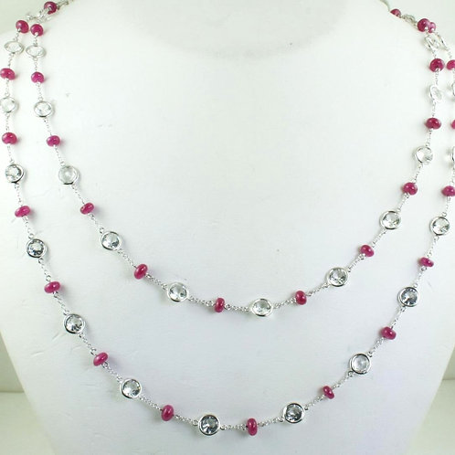 Double Strand Ruby Beaded Necklace