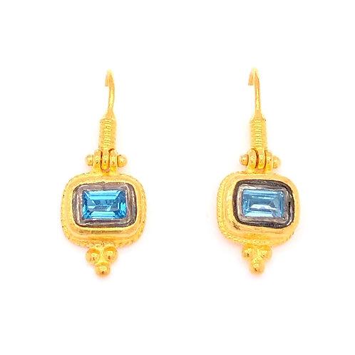 Blue Topaz Rectangle Earrings