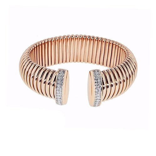 Rose Rigged Bangle with CZ