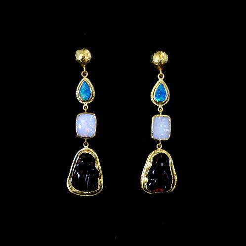 Triple Opal Drop Earrings