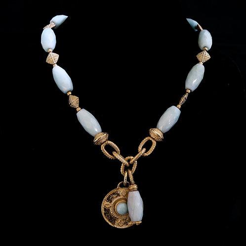 Amazonite Necklace with Round Medallion