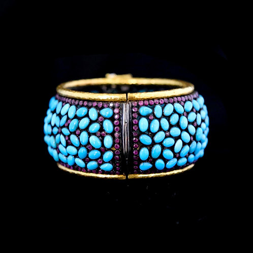 Turquoise and Ruby Cuff