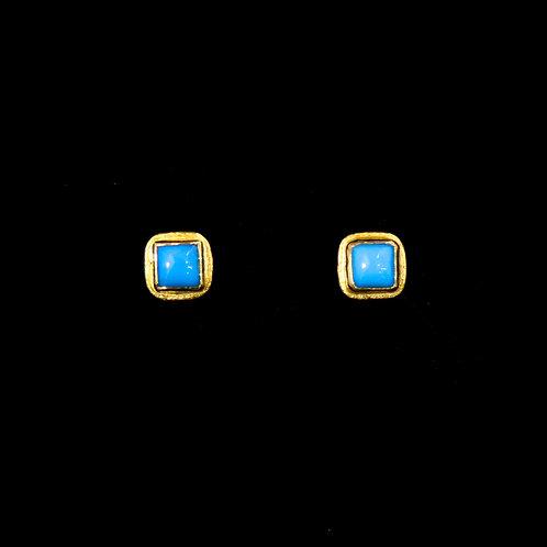 Petite Square Turquoise Earrings