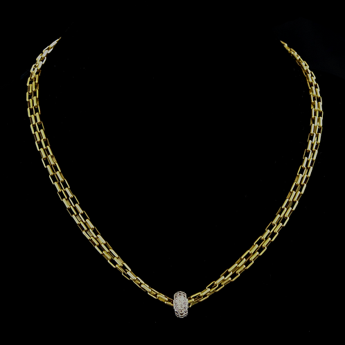 """17"""" Double Strand Necklace with CZ Center"""