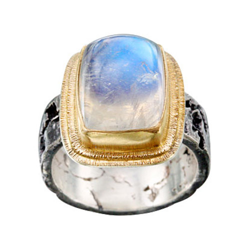 Textured Blue Moonstone Ring
