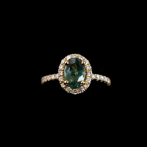 Oval Green Ring with Halo