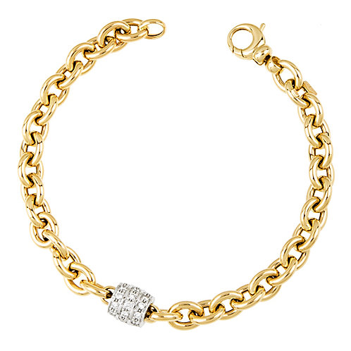 Oval Link Bracelet with Diamond Center