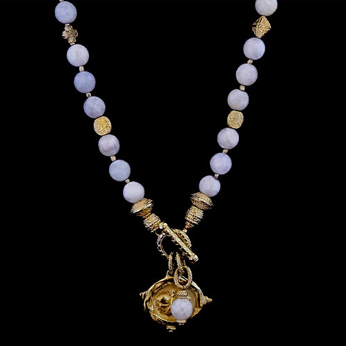Moonstone Necklace with Bee Medallion