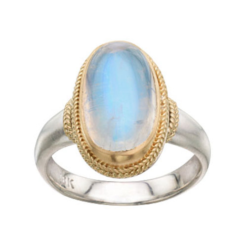 Double Braided Blue Moonstone Ring