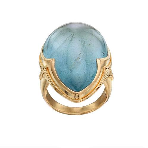 Aquamarine Ring with 3 Point Bezel
