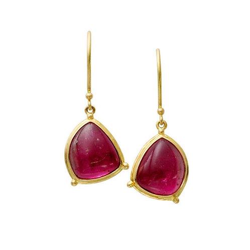 Pink Tourmaline Free Form Earrings