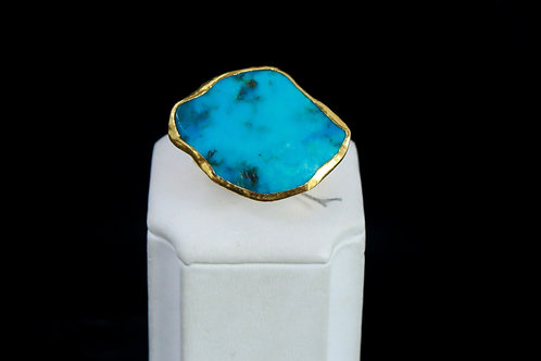 Turquoise Statement Ring with Gold Finish