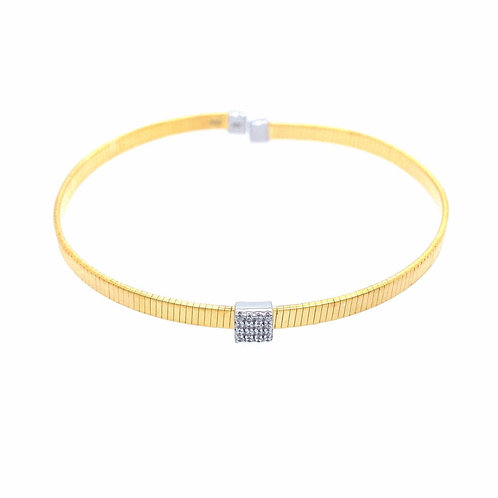 Yellow Gold Cuff with Square CZ Center