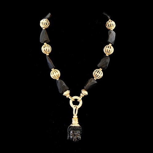 Matte Black Onyx with Buddha Necklace