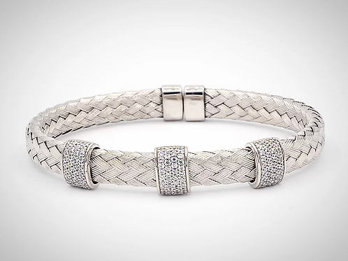Italian Silver Woven 3 Section Bracelet
