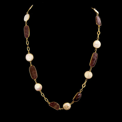 Delicate Pearl and Ruby Necklace