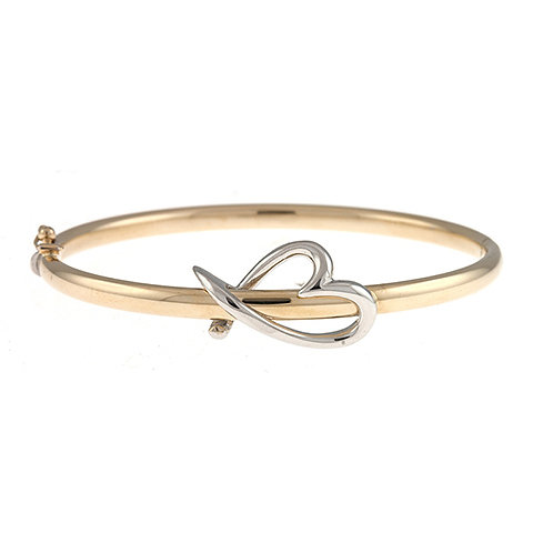 14K Yellow Bangle with Heart Accent