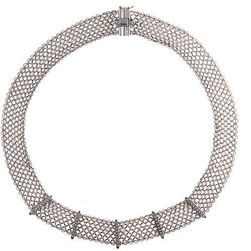 Mesh Necklace with Diamond Bars