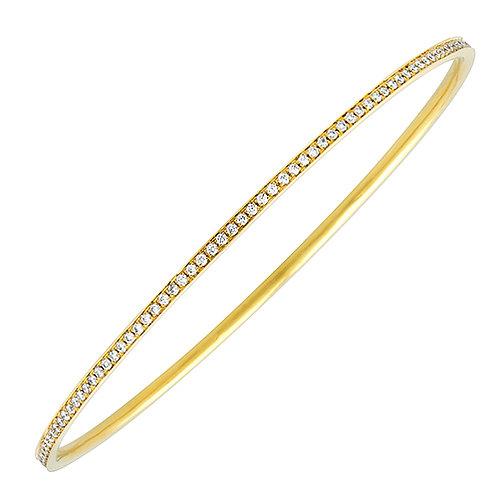 14K Yellow Gold and Diamond Bangle